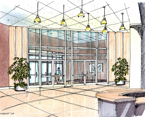 Architectural drawing of a lobby interior